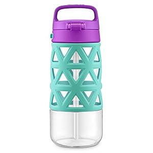 Ello Skylar Tritan Plastic Water Bottle, Mint/Purple, 16 oz