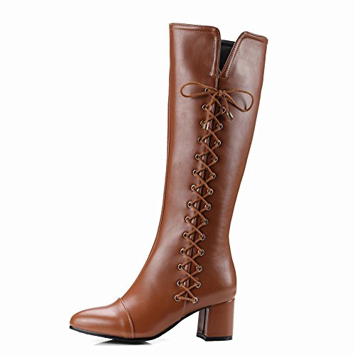 Carolbar Womens Zip Bandage Retro Mid Heel Riding Tall Western Boots Yellow Brown RIAnXH