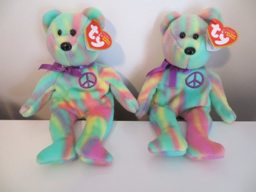 2 TY Tie Dye Beanie Babies PEACE BEARS New With Tags - FAST Shipping (Bear Die Teddy)