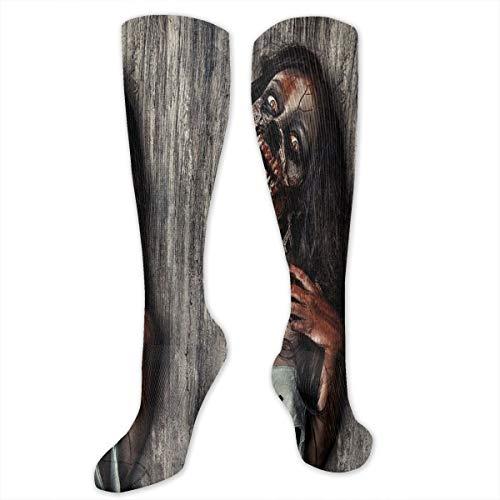 Compression Socks,Angry Dead Woman Sacrifice Fantasy Design Mystic Night Halloween Image