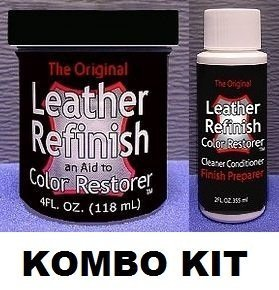 Steering Wheel Restoration Kit - Leather Refinish Color Restorer & Cleaner/Conditioner-Preparer Combo Kit (Black)