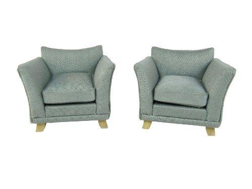 Puppenmöbel Sessel im 2er Set für Puppenhaus Grün Grau
