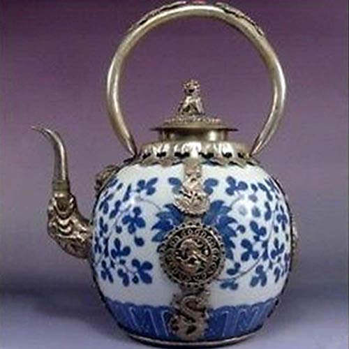 EASTCODE Pretty Silver Dragon Blue and White Porcelain teapot Garden Decoration 100% Real Tibetan Silver Brass