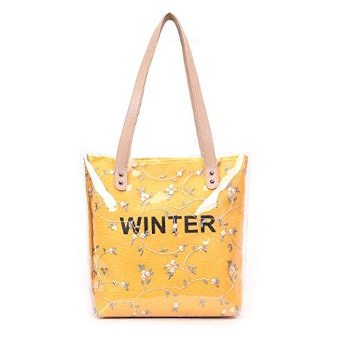 y Bolsos y Carteras de clutches mano Mujer bolsos de hombro Amarillo Shoppers bandolera C4n5qxXwvO