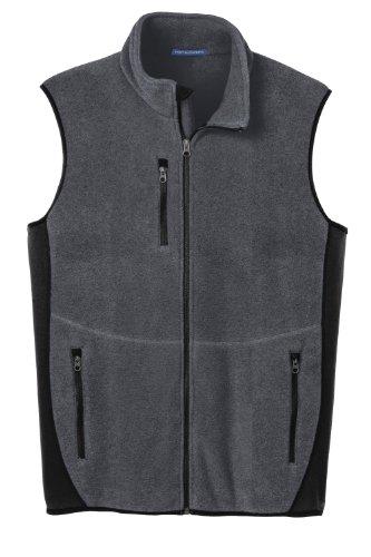 (Port Authority R-Tek Pro Fleece Full-Zip Vest>3XL Charcoal Heather/Black)