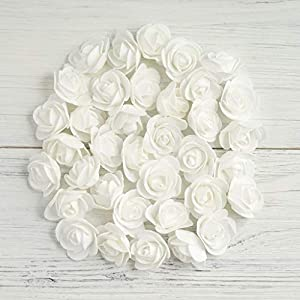 """Tableclothsfactory 36 pcs 2"""" White Real Touch 3D Artificial DIY Foam Rose Flower Head for Walls Backdrops Centerpieces Decoration 97"""