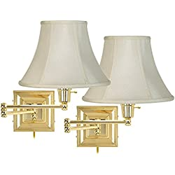 Set of 2 Brass Finish Creme Shade Swing Arm Wall Lamps