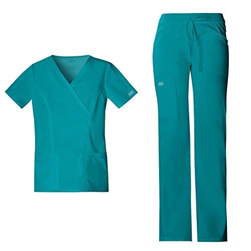 Cherokee Workwear Womens 4728 V-neck Top Mock Wrap & 24001 Drawstring Flared Leg Comfort Pant Medical Uniform Scrub Set Top & Pants + FREE GIFT (Teal Blue - Large)