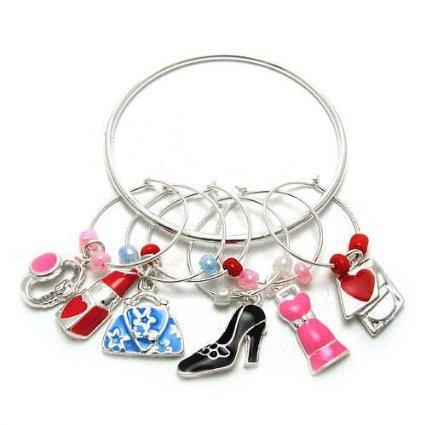 Wine Charms ~ Lady Accessories Wine Glass Charms Set of 6 (Lip Stick Purse Shoe) (Wine Charm 012d 20)