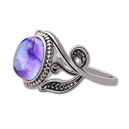 Shusuen ♥ Natural Amethyst Fashion Women Crystal Cubic Zirconia Band Ring Jewelry from Shusuen