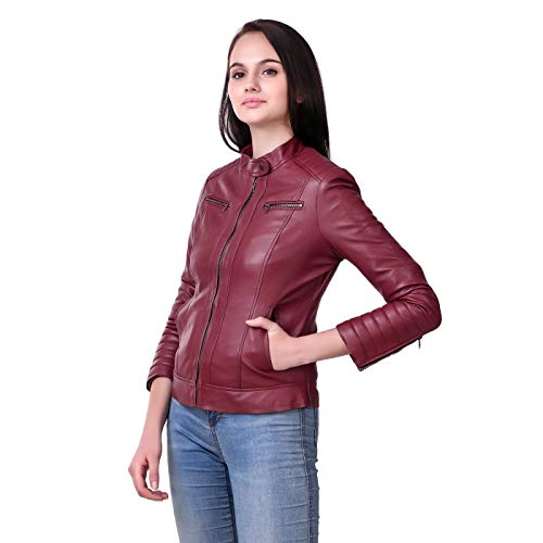 Leather Retail® Cherry colour Full Sleeve Solid Jacket for Woman