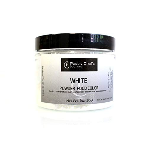 Pastry Chef's Boutique Fat Soluble Powder Food Color - Great for Coloring Chocolate and Cocoa Butter - 1Oz. - White