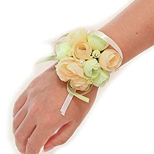 Charmly 4 Pack Wrist Flower Wrist Corsage Hand Flower for Bride Bridesmaid Party Prom Champagne 93