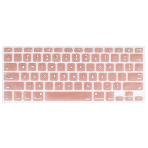 MOSISO Keyboard Cover Silicone Skin Compatible MacBook Pro 13 Inch, 15 Inch (with or Without Retina Display, 2015 or Older Version) MacBook Air 13 Inch, Rose Gold