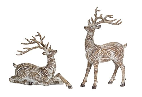 Diva At Home Set of 4 Brown and Snow White Antique Artificial Reindeer Decor 14'' by Diva At Home