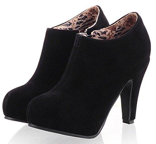 Idifu Nätt Kvinna Chunky Hög Klack Zip Upp Faux Mocka Plattform Boots Svart