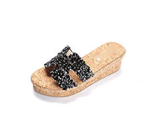 AJUNR Moda/elegante/Transpirable/Sandalias Zapatillas zapatos de mujer agua brocas de 6cm pendientes con espeso negro 40 36