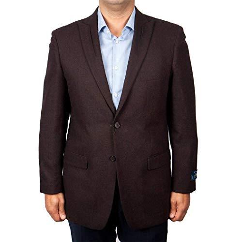 - ZeGarie Mens Wine Maroon 2 Button Slim Fit Wool Sport Coat Jacket Blazer New (40L Regular)