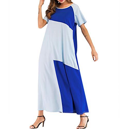 Euone Dress Clearance, Woman Summer Dress Clearance Color Block Patchwork Beach Dresses Side Pockets Short Sleeve O-neck Casual Long Sundress (Short Advance Sundress Sleeve)