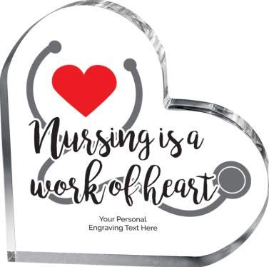 (Nursing Heart Acrylic Award, Personalized Nurse Heart Gift with Color Printing and Your Own Engraving Text)