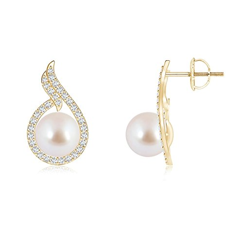 Akoya Cultured Pearl Earrings with Diamond Swirl Frame in 14K Yellow Gold (8mm Akoya Cultured Pearl) ()