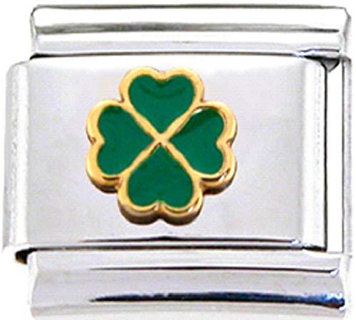 (Stylysh Charms Irish Four Leaf Clover Lucky Enamel Italian 9mm Link NC087 )