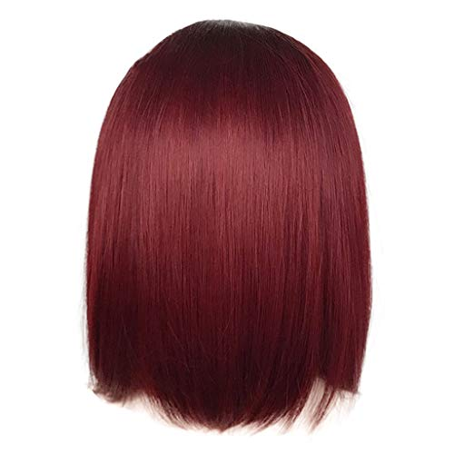 Jaromepower 16'' Ombre Wine Red Short Bob Hair Straight Natural Style Wig Lace Front Wig Cosplay Synthetic Short Wig Straight Burgundy Wigs for Black Women Heat Resistant Fiber Wig]()