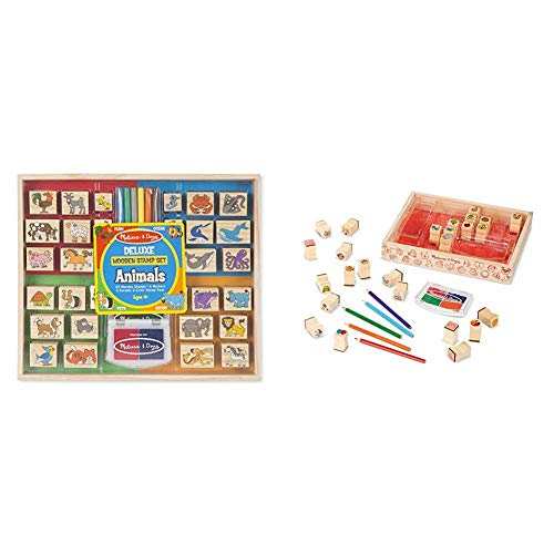 Melissa & Doug Deluxe Wooden Stamp Set, Animal Stamps (Best for 4, 5, 6 Year Olds and Up) & Wooden Favorite Things Stamp…