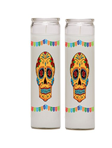 Gifts by Lulee, LLC Dia de Los Muertos Day of The Dead Calavera Catrina Set of Two 7 Day Candles in Glass Jar Style5
