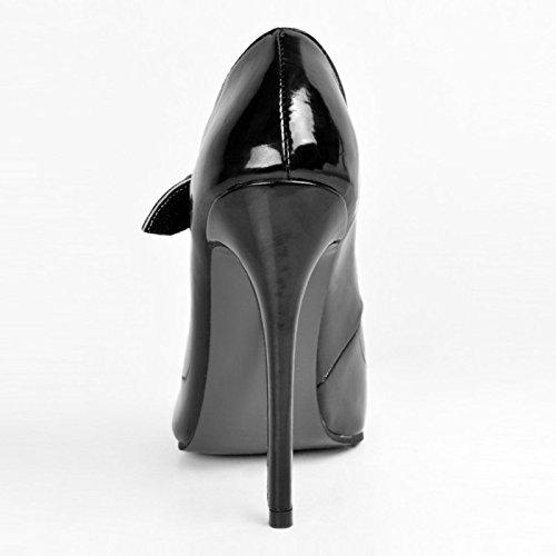 Sandals Toe Large 11 cm Heeled 47 Black Shoes 34 Size VIVIOO Size High 12 Leather Shoes Prom Shoes Black Pumps Pointed 5BpOqSP