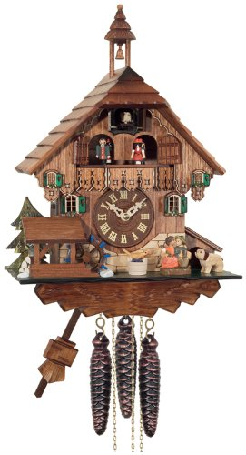 River City Clocks One Day Musical Cuckoo Clock Cottage, Boy and Girl Kiss with Waterwheel Turns