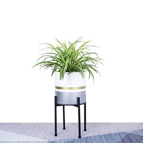 "Indoor Plant Stand - Stylish Sleek Matte Black Metal Planter Stand - Craftwork - Indoor Flower & Planter Pot Stand| Heavy-Duty Sturdy Mid Century Plant Stand - (Medium: 10"" Tall Fit 8"" Pot)"