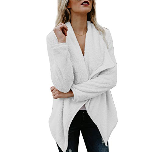 White Jacket Front Oversized Cardigan Coat Open Outwear Women's Fuzzy gpPqvww8