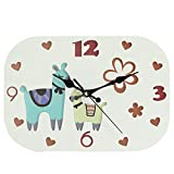 Wood Wall Clock, Silent Non-Ticking Decorative Cartoon Wall Clock, Imaginative Style Good for Living Room/School/Children's Room, Gifts for Child Birthday (Alpaca-75N)
