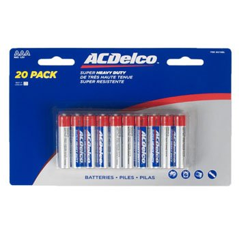 BATTERIES AAA 20PK HEAVY DUTY AC DELCO CARDED, Case Pack of 24 by DollarItemDirect