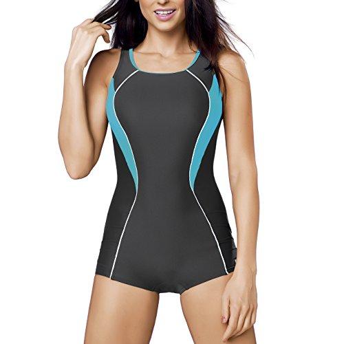 GWINNER Women's Isabel Boyleg One Piece Athletic Swimsuit - S - (Wonder Woman Modest Costume)