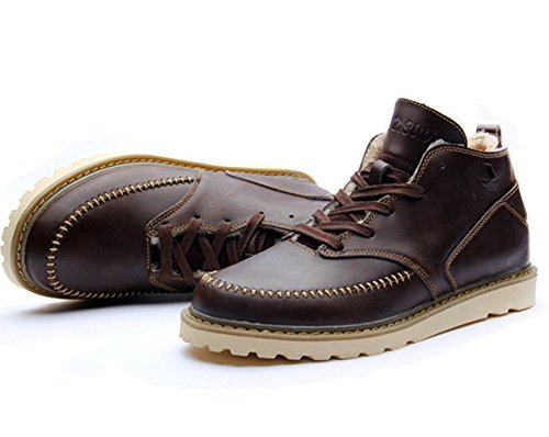 Insun Mens Laces Fleece Lining Leather Boots Coffee UnqBs5RZny
