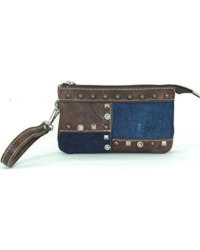 Savana Women's Faux Leather Clutch Patchwork Wristlet Blue One Size