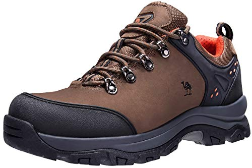 CAMEL CROWN Hiking Shoes Men Trekking Shoe Low Top Outdoor Walking Waterproof Leather Trail Sneakers(Khaki-1,7 D(M) US)
