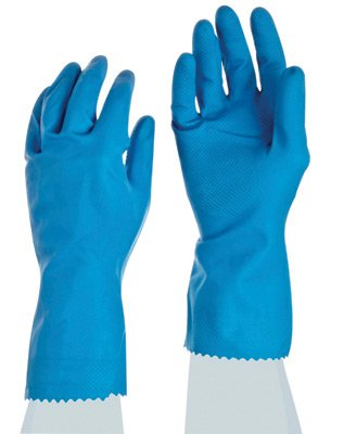 Ansell Size 10 Sky Blue FL100 12'' Cotton Flock Lined 17 mil Unsupported Natural Rubber Latex Chemical Resistant Gloves With Fishscale Grip Finish And Pinked Cuff