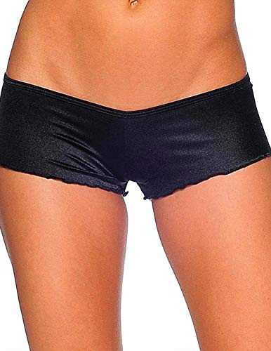 Junior Pole - iHeartRaves Black Scrunch Back Ultra Low Rise Booty Shorts (One Size Fits Most)