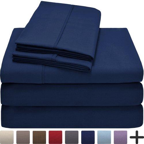 Premium 1800 Ultra-Soft Microfiber Collection Sheet Set - Double Brushed - Hypoallergenic - Wrinkle Resistant - Deep Pocket (Split King, Dark Blue)