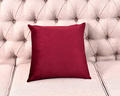 Cushion One - TEMNETU Decorative Throw Pillow Covers Set,Velvet Soft Soild Square Cushion Cases with Zipper Hidden for Car/Bar/Office/Patio.(18 x 18 Inch) (Wine Red, 1 Pieces 18