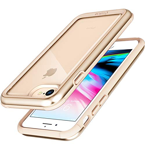 ZUSLAB [Iron Shield] for Apple iPhone 6 Case/iPhone 7 Case/iPhone 8 Case with Military Grade Drop Tested, Aluminum + TPU Bumper and Hard Clear Back Cover, Protective Shockproof Case - Gold