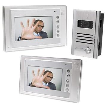 Docooler® 7 Inch Video Door Phone Doorbell Intercom Kit 1-camera 2-monitor