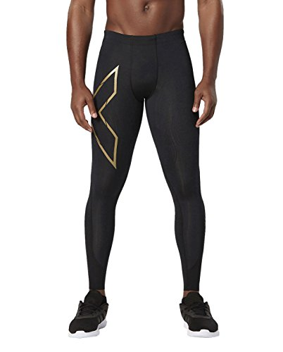 2XU Men's Elite MCS Compression Tights, Black/Gold, Medium by 2XU (Image #1)