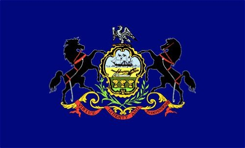Valley Forge, Pennsylvania State Flag, Nylon, 3' x 5', 100% Made in USA, Canvas Header, Heavy-Duty Brass Grommets
