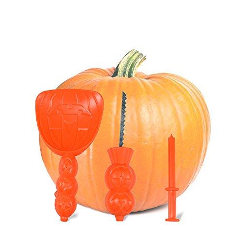 UVEEFUN Pumpkin Carving Tools Kit - Set of 3 Cutting Saw, Scoop, Poker for Jack-O-Lanterns Halloween Party