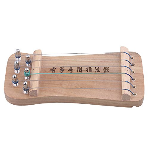 Yibuy 210x92x35mm 6-String Wood Color Finger-Training Guzheng Portable Chinese Zither Harp Koto Finger Strength (Chinese Instrument)