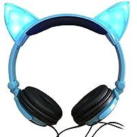 Jinserta Cat Ear Headphones with Glowing Lights (Blue)